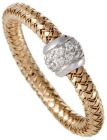 Roberto Coin Primavera 18K Rose and White Gold Diamond Band Ring Size 7.25