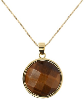 "Veronese 18K Clad Tiger's Eye Pendant w/ 26"" Chain"