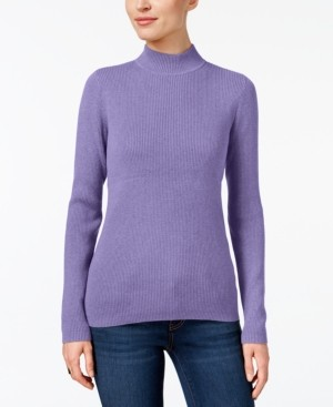 Karen Scott Petite Solid Ribbed Mock-Neck Sweater, Created for Macy's