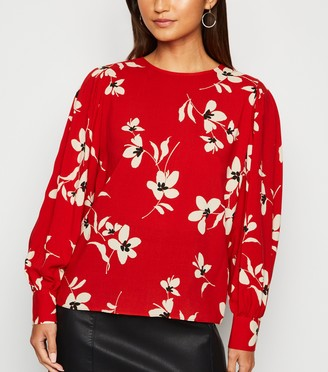 New Look Petite Floral Puff Sleeve Blouse
