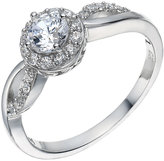 N. H Samuel Sterling Silver Cubic Zirconia Solitaire Halo Ring Size