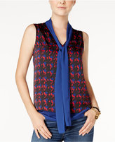 Tommy Hilfiger Printed Tie-Neck Shell, Only at Macy's