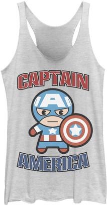 Licensed Character Juniors' Marvel Captain America Cute Kawaii Hero Pose Tank Top