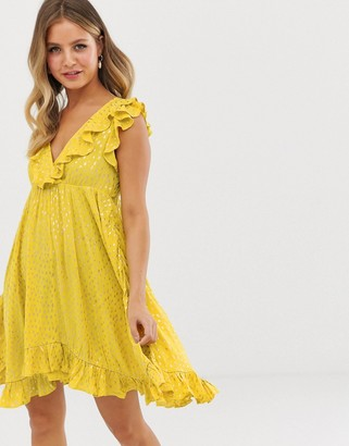 Glamorous tie back skater dress with frill-Yellow