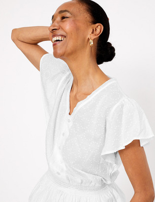 Marks and Spencer Pure Cotton Waisted Short Sleeve Blouse