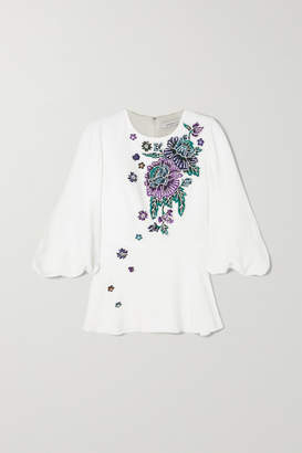 Andrew Gn Embellished Woven Peplum Blouse - White