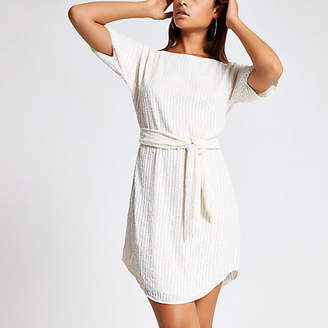 River Island Cream sequin embellished tie waist dress
