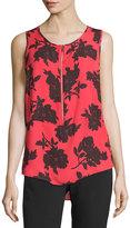 MICHAEL Michael Kors Sleeveless Printed Zip-Front Blouse, True Red