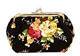 Clutch Bag, Misaky Women Lady Retro Vintage Flower Small Wallet Hasp Purse (Black)