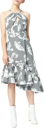 Three floor Florence Gingham Asymmetric Halter Dress