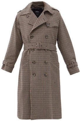 A.P.C. Greta Checked Wool-blend Trench Coat - Black Grey