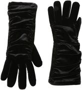 Cejon Black Velvet Ruched Gloves