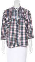 Steven Alan Plaid Print Long Sleeve Top