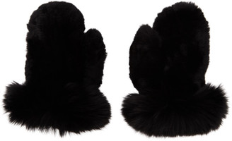 Yves Salomon Black Rex Rabbit and Fox Fur Mittens