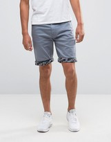 Asos Denim Shorts In Stretch Slim Blue With Camo Turn Up
