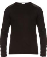 Tomas Maier Faux-leather patch cotton-jersey top