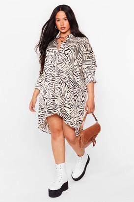 Nasty Gal Womens Shirts for Me Plus Tiger Satin Dress - White - 22