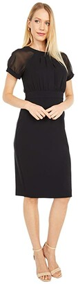 Vince Camuto Crepe Bodycon with Short Sleeve Chiffon Bodice (Black) Women's Dress