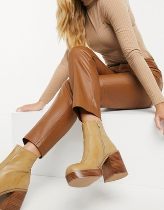 ASOS DESIGN Ragan chunky platform boots in sand