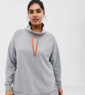 Asos 4505 4505 Curve sweat top with slouch neck-Gray