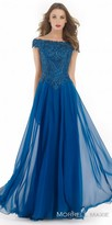 Morrell Maxie Off the Shoulder Embellished A-line Chiffon Evening Dress