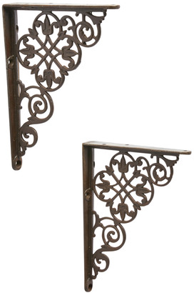 Rejuvenation Pair of Leaf Pattern Iron Shelf Brackets