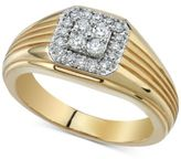 Macy's Men's Diamond Cluster Ridged Ring (1/2 ct. t.w.) in 10k Gold