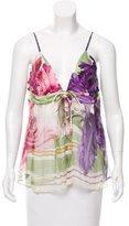 Roberto Cavalli Silk Floral Print Top w/ Tags