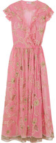 Ashish Embroidered Embellished Silk-georgette Wrap Dress - Pink
