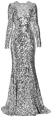 Dolce & Gabbana Women's Long-Sleeve Sequin Flare Gown