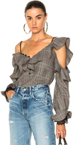 Self-Portrait Wool Check Off Shoulder Frill Top in Checkered & Plaid,Neutrals.