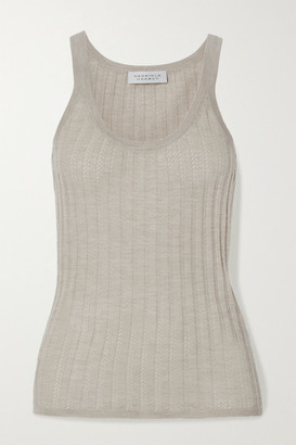 Gabriela Hearst Nevin Ribbed Pointelle-knit Cashmere And Silk-blend Tank - Taupe