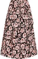 Kenzo Printed Silk Crepe De Chine Midi Skirt - Pink