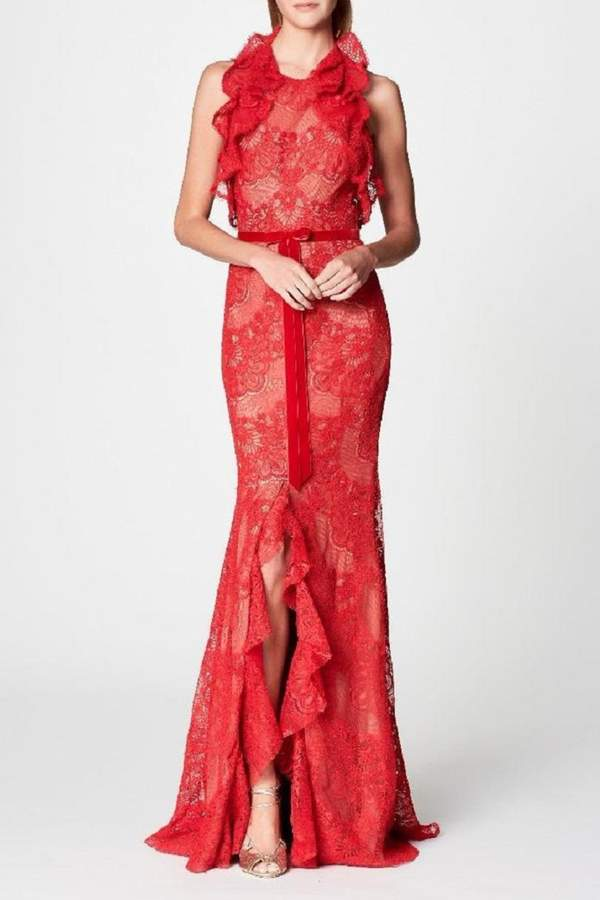 Marchesa Ruffle Lace Gown