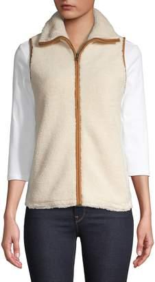 Chaps Petite Faux Shearling Full-Zip Vest