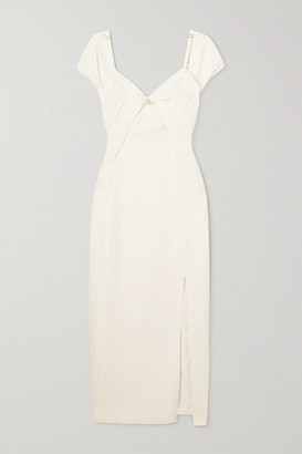 Jacquemus Tovallo Buckled Layered Linen-blend Midi Dress - Ecru