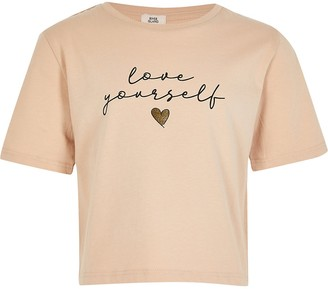 River Island Girls beige 'Love Yourself' print t-shirt