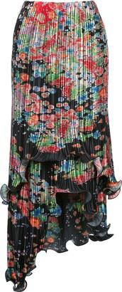 Givenchy Floral-Print Plisse Asymmetric Skirt