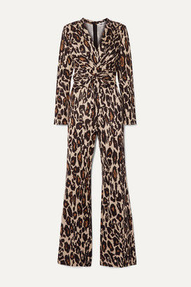 Diane von Furstenberg Melinda Leopard-print Silk-jersey Wrap Jumpsuit - Leopard print