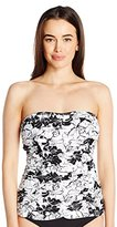 Jones New York Women's Peek A Boo Shirred Bandeau Tankini