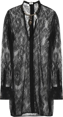 Valentino Embellished Silk Lace Top
