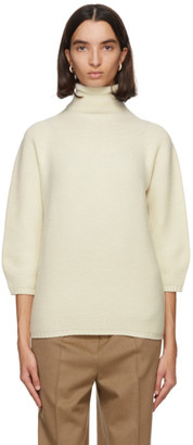 Max Mara White Wool and Cashmere Etrusco Turtleneck