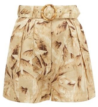 Zimmermann Super Eight Belted Leaf-print Linen Shorts - Womens - Yellow Print
