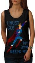 Must Go Gym Needs Me Superman Women NEW L Tank Top | Wellcoda