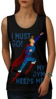 Must Go Gym Needs Me Superman Women NEW M Tank Top | Wellcoda