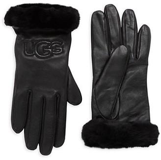 UGG Leather Shearling Logo Gloves