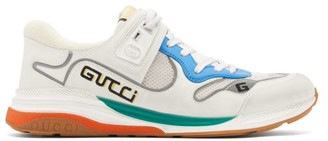 Gucci Ultrapace Distressed Leather And Suede Trainers - Mens - White
