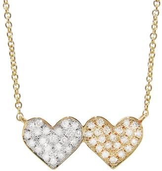 Sydney Evan Medium Double Heart Diamond Yellow and White Gold Necklace