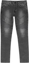 True Religion Rocco Grey Straight-leg Biker Jeans