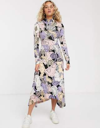 Monki floral print high neck midi dress in multi